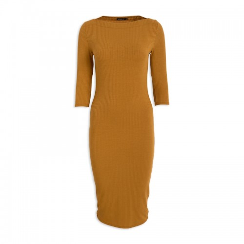 Mustard Slash Dress -