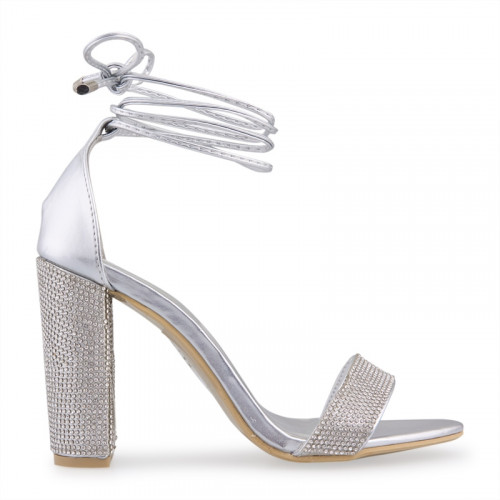Silver Metallic Diamante Sandal -