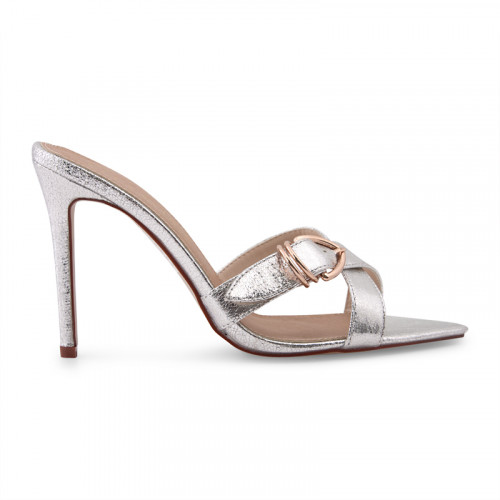 Silver Pointed Buckle Detail Mule -
