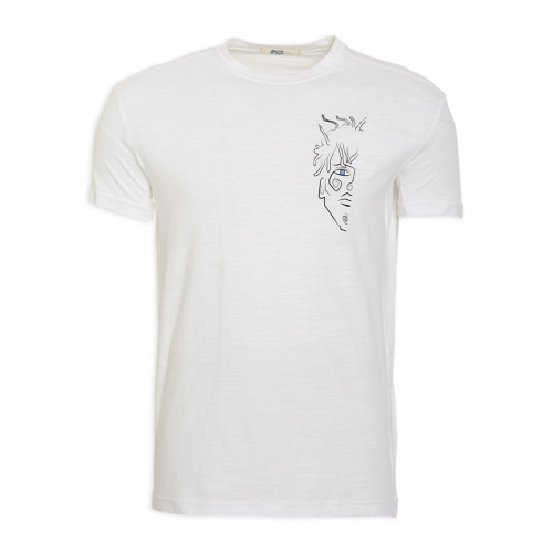 White Printed T - Shirt -