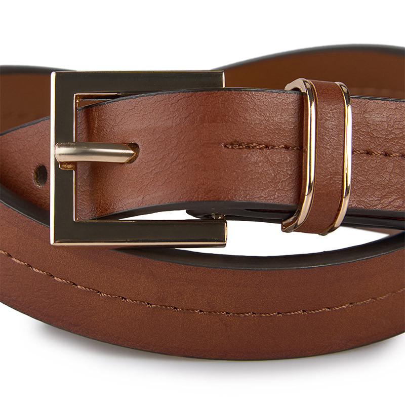Tan Stitched Jeans Belt -