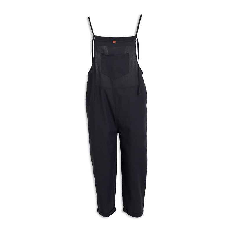 Black Linen Dungaree -