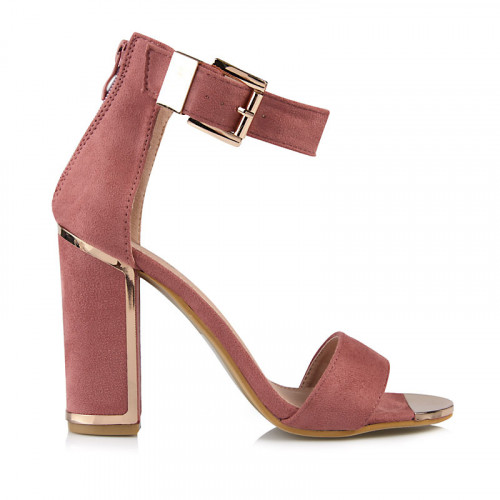 Pink Suede Large Buckle Detail Sandal -