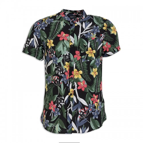 Green Floral Short Sleeve Shirt -