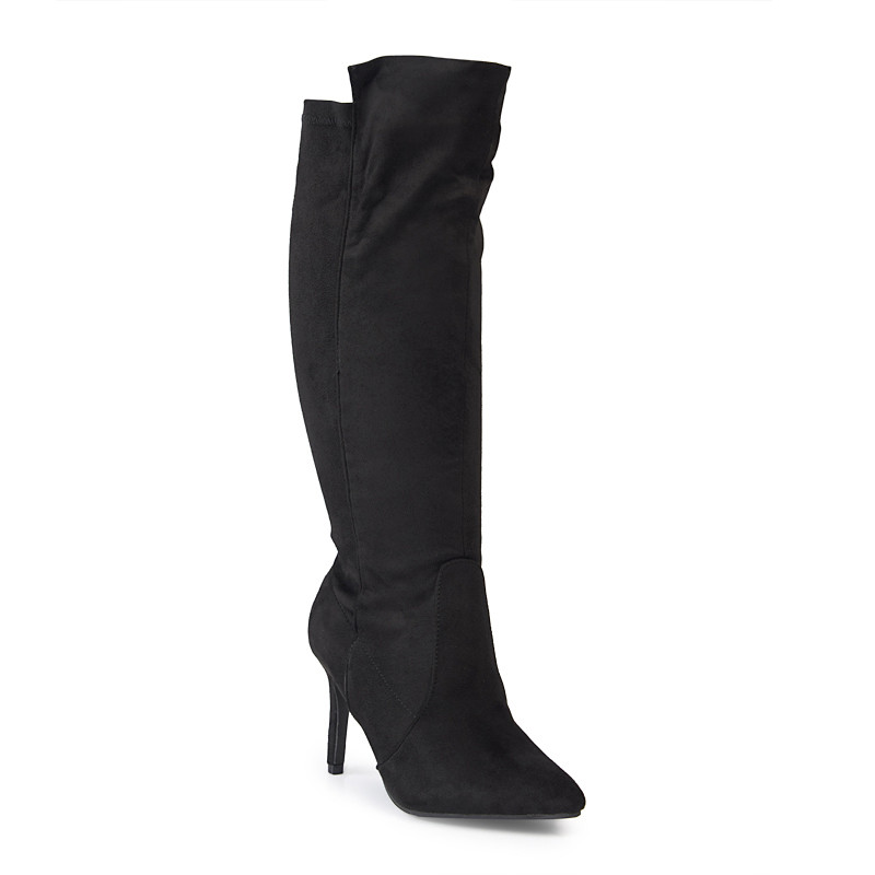 Black Suede Low Heeled Boot -