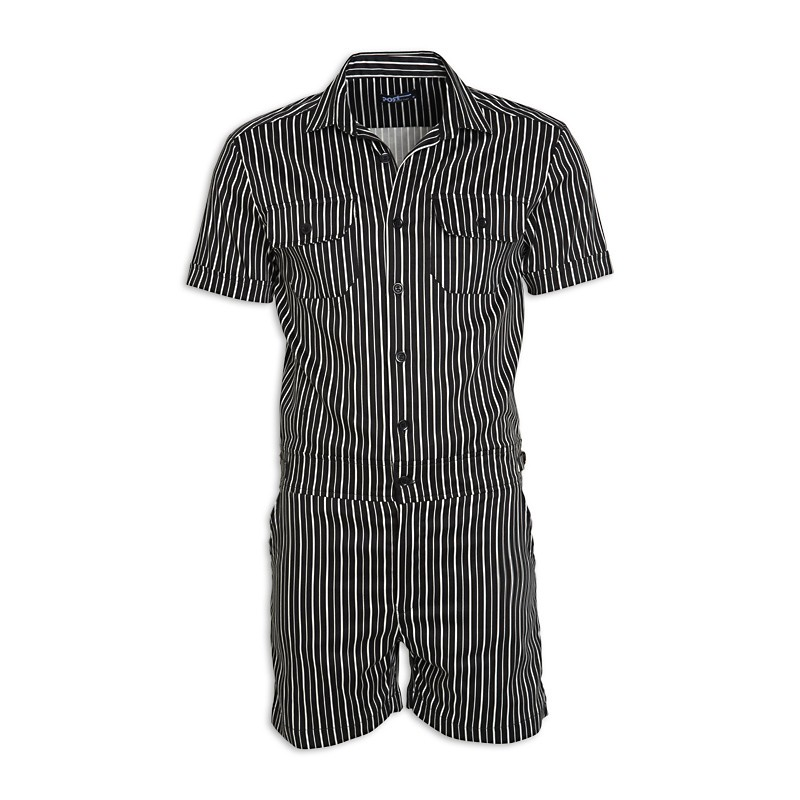 Black Stripe Short Jumpsuit -