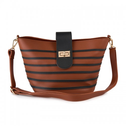 Tan Stripe Bag -