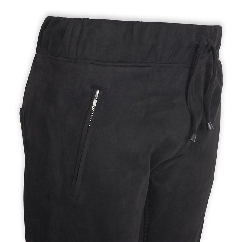 Black Suede Zip Jogger -