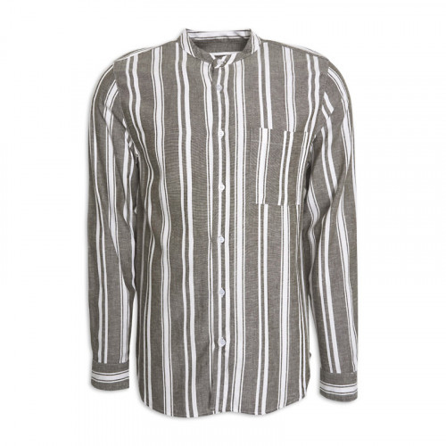 Khaki Stripe Long Sleeve Shirt -