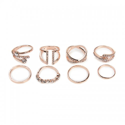 8Pack Diamante Ring Set -