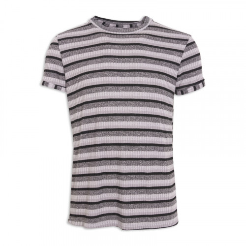 Grey Rib Stripe T - Shirt -