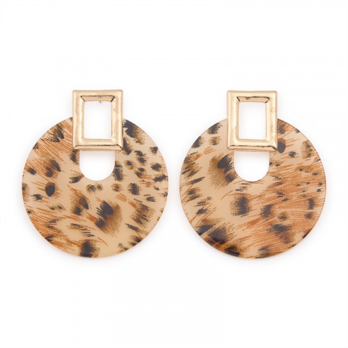 Animal Disk Earrings -