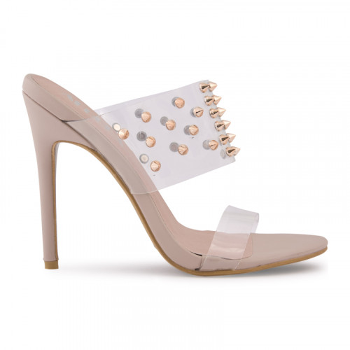 Nude Perspex Mule With Gold Studs -