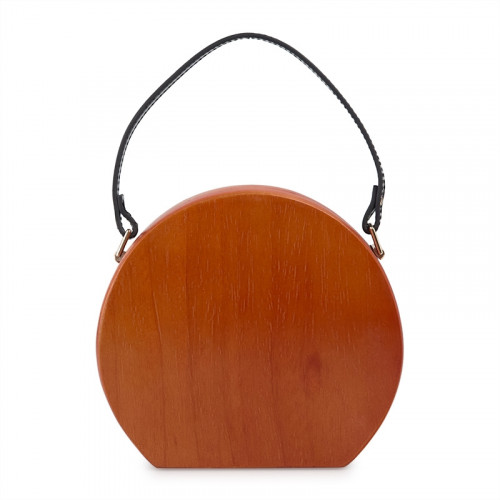 Wooden Round Clutch Bag -