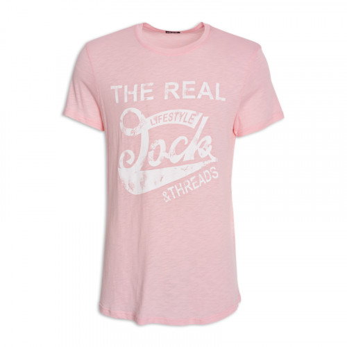 Pink Printed Crew Neck T-Shirt -