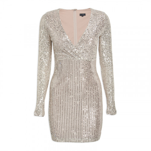 Silver Sequin Mini Dress -