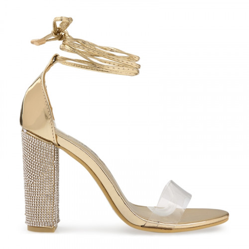 Gold Chrome Diamante Heel Sandal -