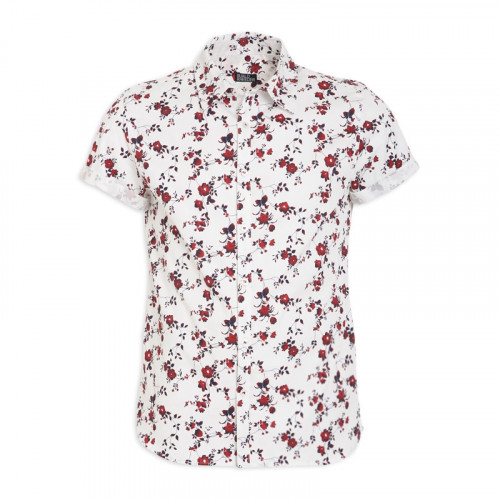 Maroon Floral Short Sleeve Shirt -
