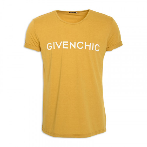 Mustard Printed Crew Neck T-Shirt -