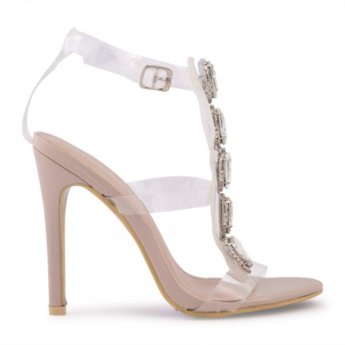 Nude Patent Sandal With Ornamental Detail -