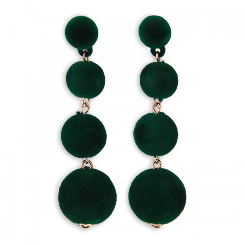 Green Velvet Drop Earrings -