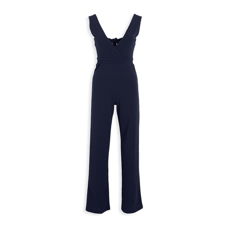 Navy Bow Jumpsuit -