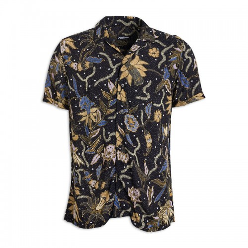 Black Floral Short Sleeve Shirt -