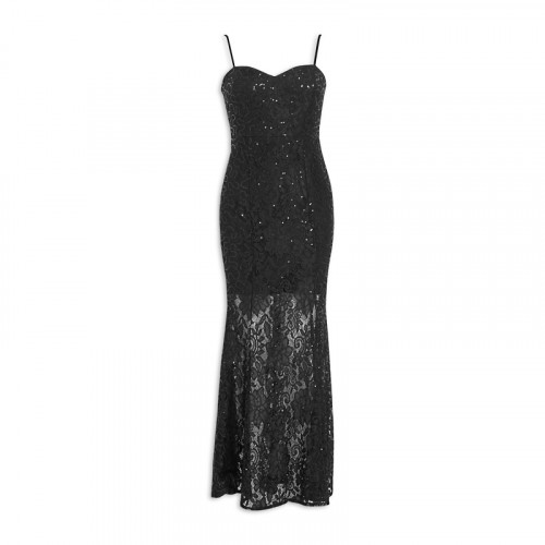 Black Sequin Lace Maxi -