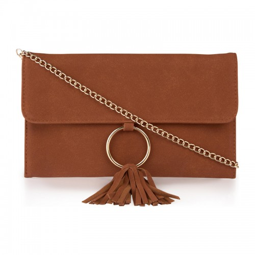 Tan Tassel Ring Clutch -
