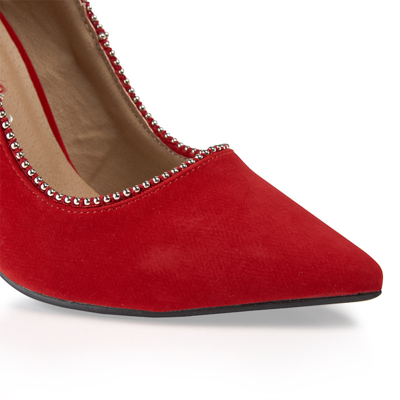 Red Suede Court Shoe -