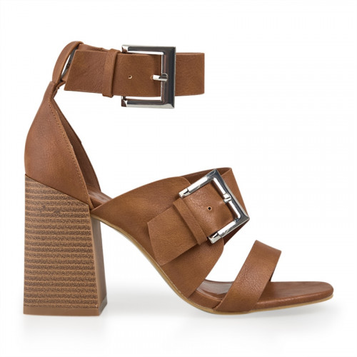 Tan Double Buckle Sandal -