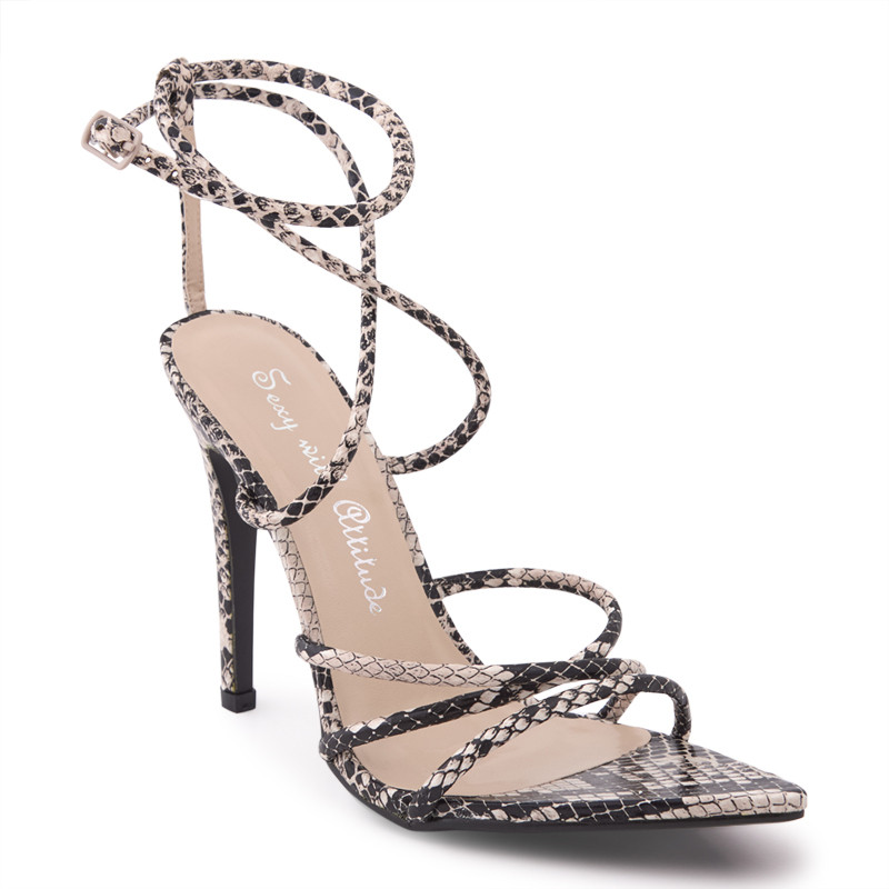 Natural Snake PU Crossover Strappy Sandal -