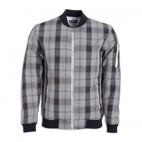 Grey Check Bomber Jacket -