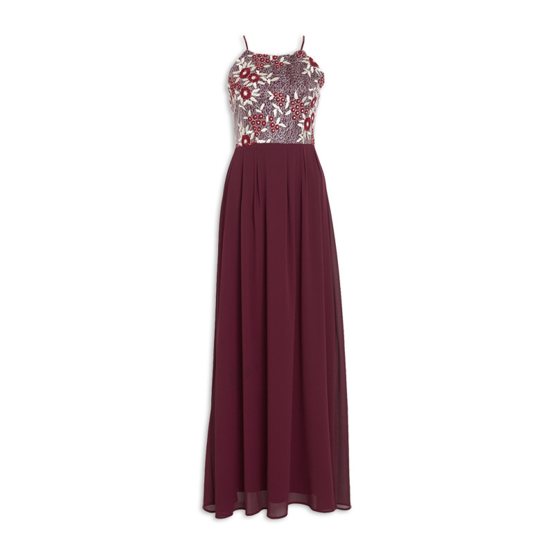 Burgundy Gold Bridesmaids Dress -