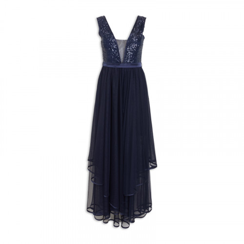Navy Sequin Tulle Dress -