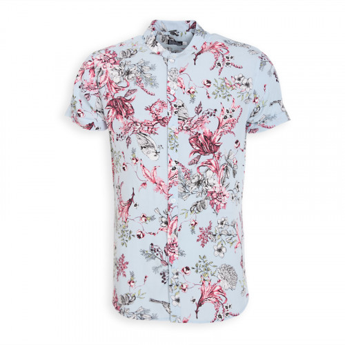 Coral And Blue Floral Mandarin Short Sleeve Shirt -