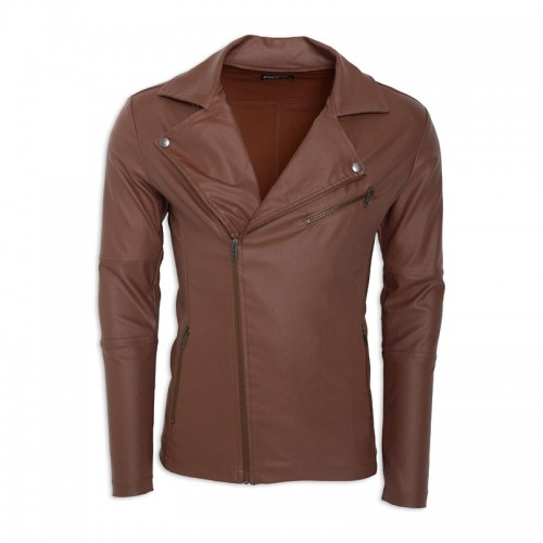 Brown Pleather Biker jacket -