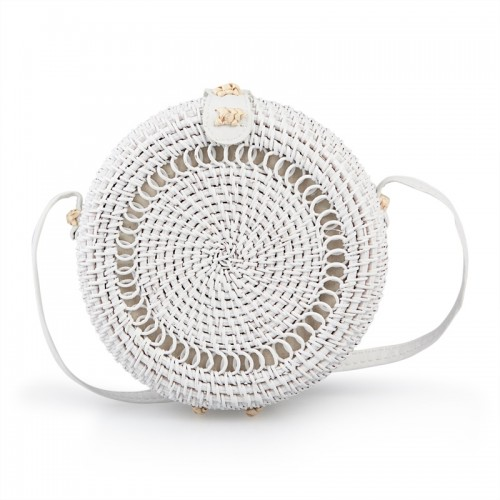 White Weave Wicker Bag -