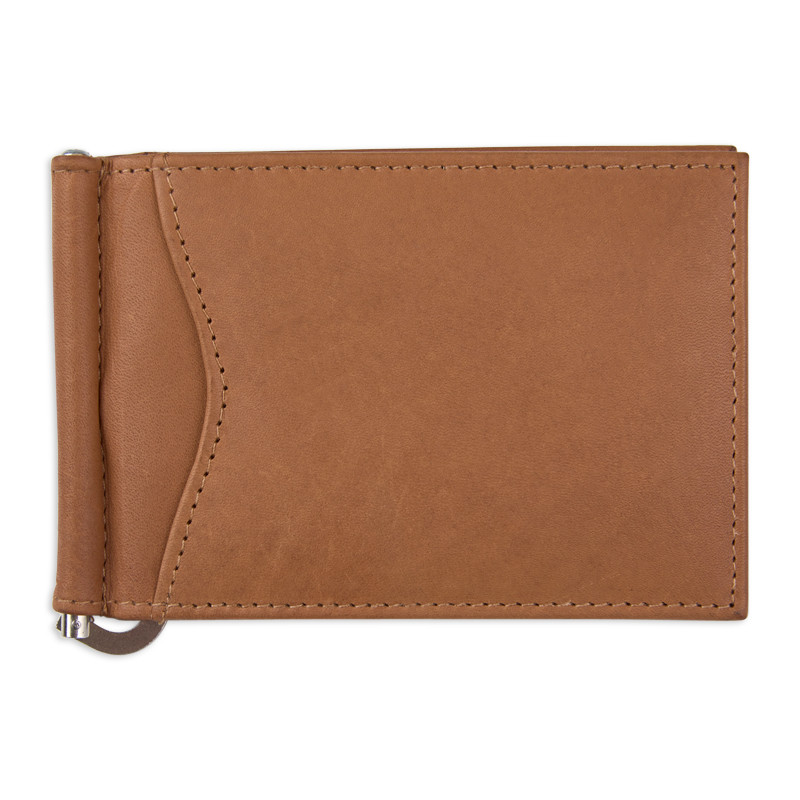 Tan Leather Money Clip -
