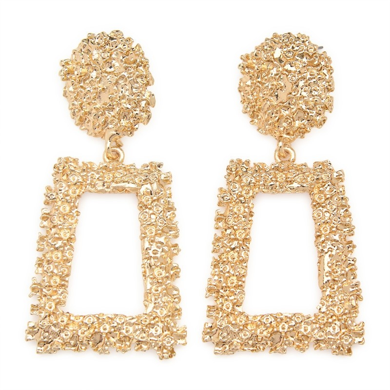 Gold Drop Trapezoid Earring -