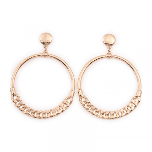 Gold Chain Hoop Earrings -
