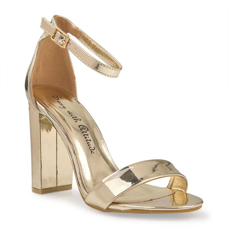 Gold Chrome Ankle Tie Sandal -