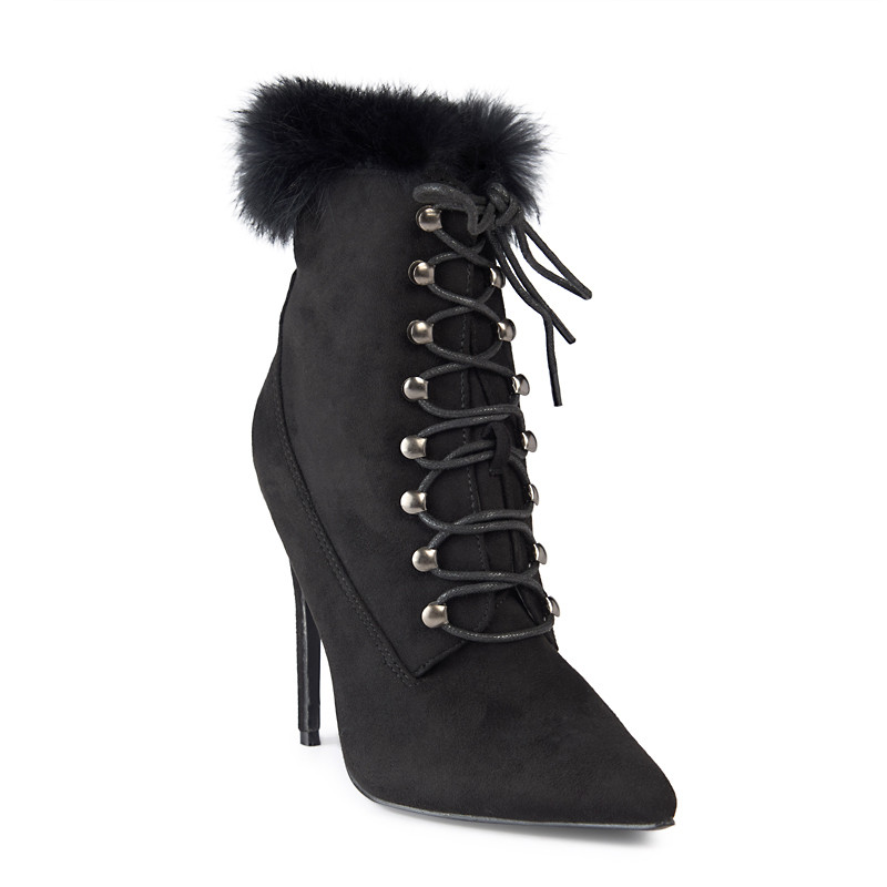Black Suede Fur Lined Boot -