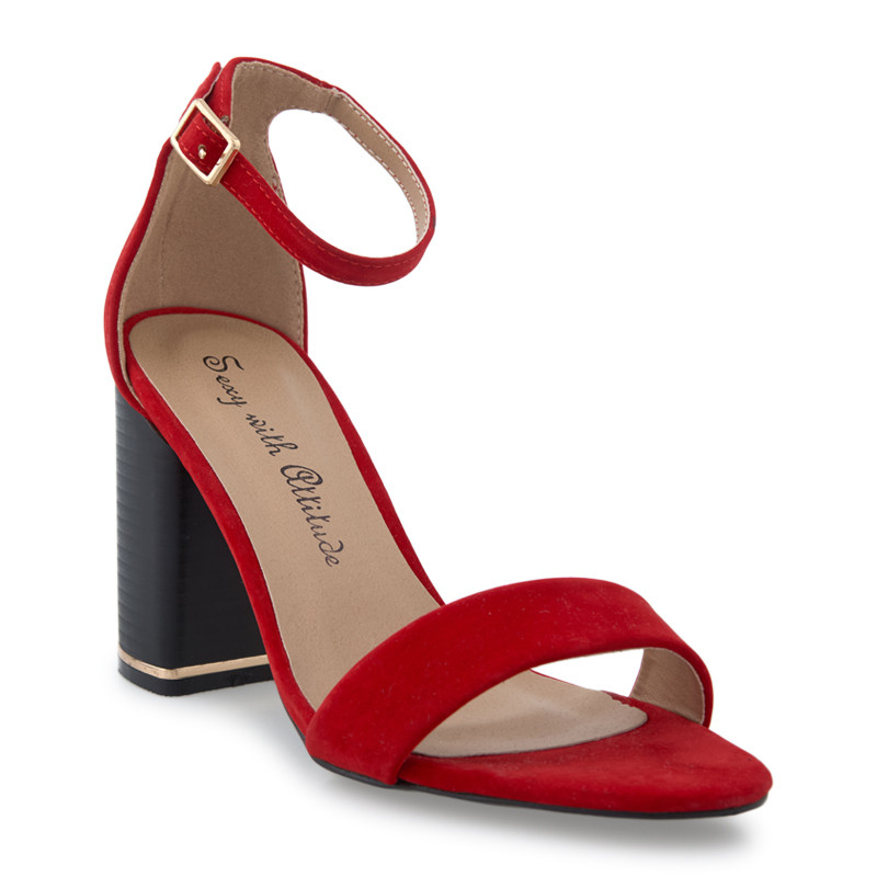 Red Suede Plain Ankle Strap Sandal -