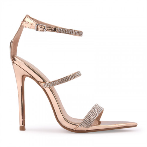 Rose Gold Stiletto Thin Diamante Vamp -