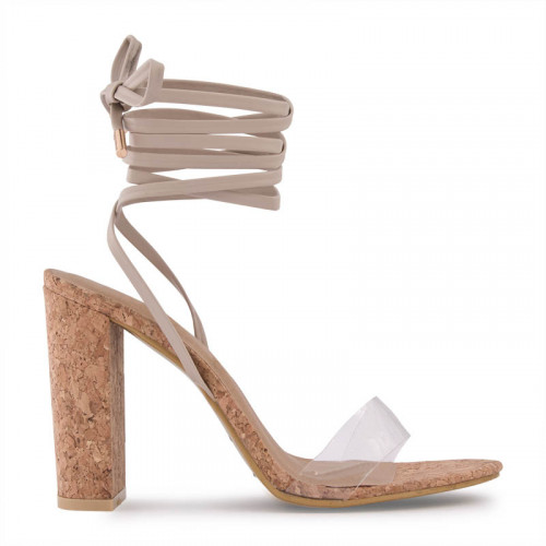 Nude Cork Sandal With Ankle Tie Up Straps -