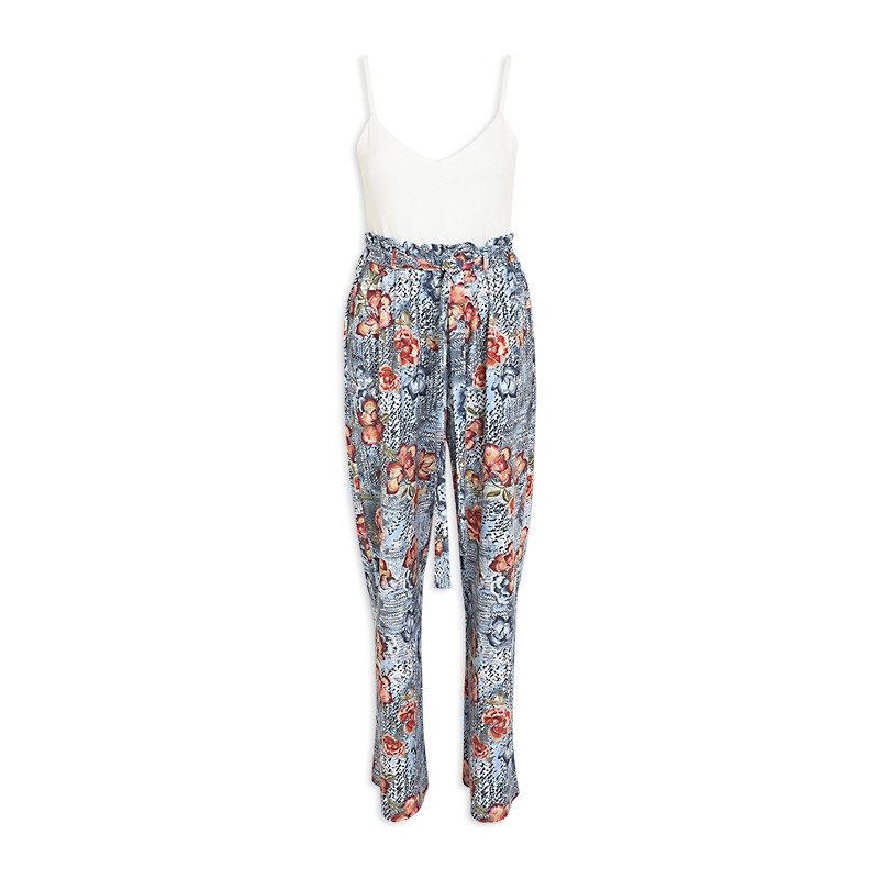 Blue Floral Jumpsuit -