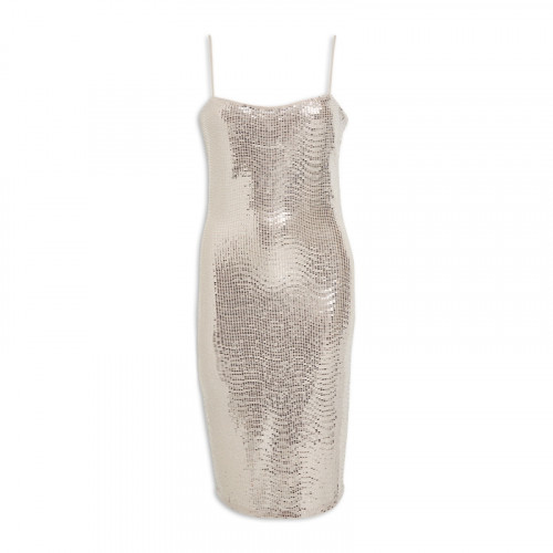Sand Metallic Pencil Dress -