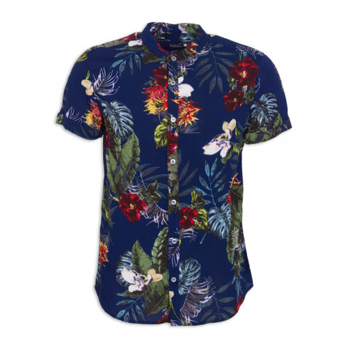 Red And Navy Floral Mandarin Short Sleeve Shirt -