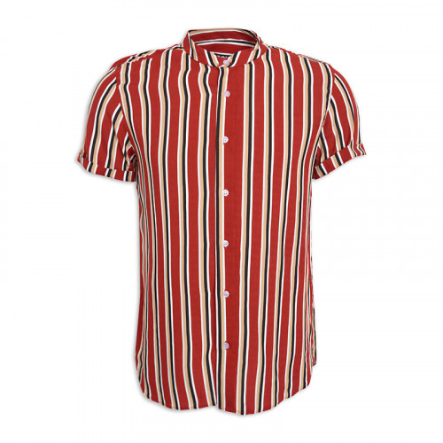 Rust Stripe Mandarin Short Sleeve Shirt -